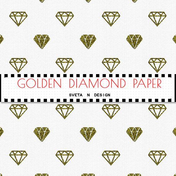 Glitter DIAMONDS Digital Paper in Golden White - Instant Download {glitter digital, glitter diamonds, digital diamonds, diamonds paper}