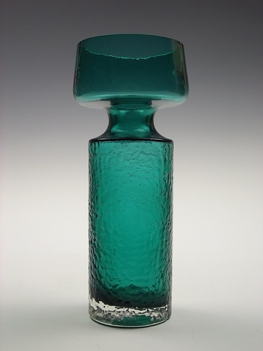 Riihimaki 'Safari' teal green coloured glass vase