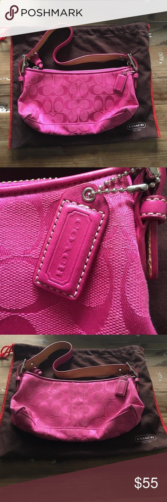 Pink Coach Purse Super chic and hardly worn! The perfect pop with any outfit! Coach Bags Shoulder Bags