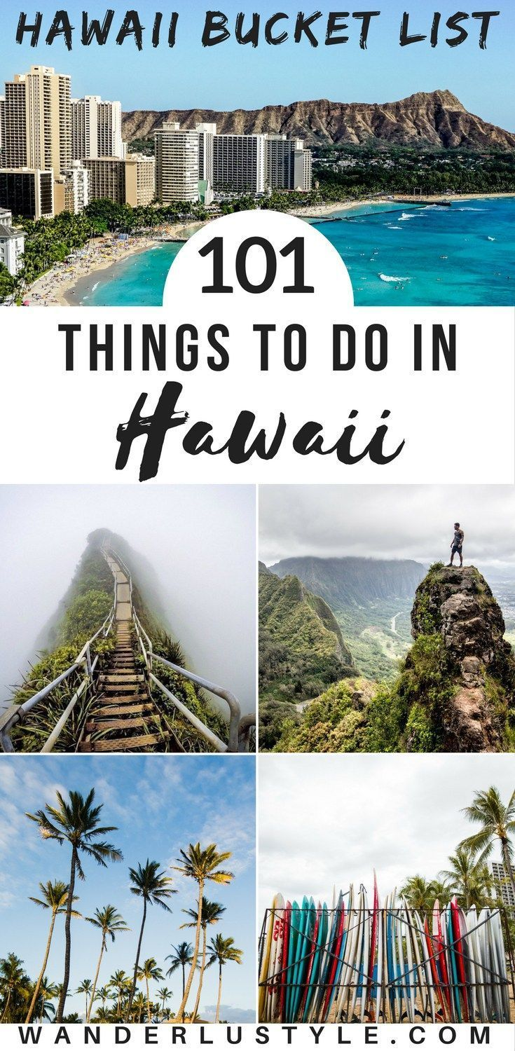 The Ultimate Hawaii Bucket List of Things To Do in Hawaii. 101 things to do in Hawaii, perfect for your paradise vacation! Hawaii Travel Tips, Oahu, Big Island, Kauai, Maui, Hawaii Travel, Hawaii Things To Do - #LetHawaiiHappen #Hawaii #HawaiiTips   Wanderlustyle.com