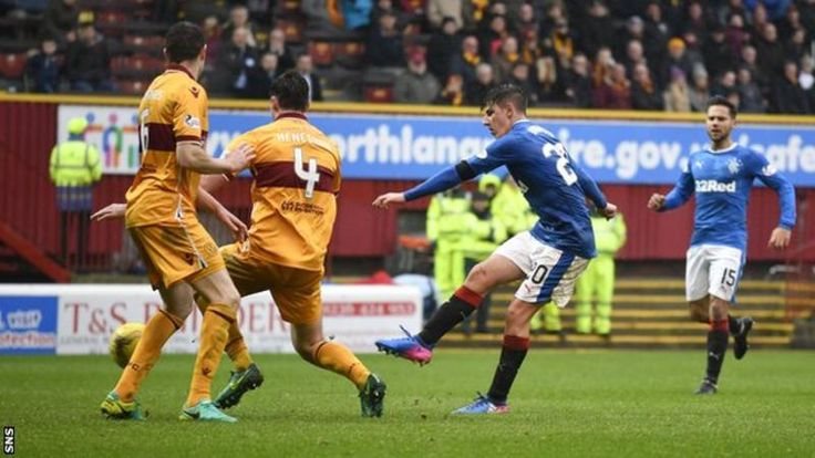 Rangers beat Motherwell for a second time in a week to move back into second place in the Premiership after both sides had a man sent off early on.  The first red card came after only five minutes, when Michael O'Halloran caught Well's Carl McHugh high on his thigh.  Scott McDonald passed up a great chance to put the home side ahead before being sent off for lunging into a challenge on Miller with only 27 minutes gone.  Miller recovered to open the scoring and Emerson Hyndman fired the…