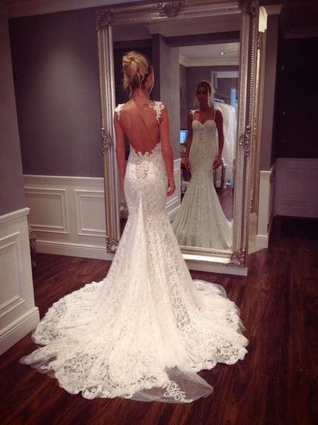 2015 New Bridal Gown White Lace Sweetheart Spaghetti Straps Backless Low Back Mermaid Chapel Train Long Wedding Dresses, $143.29 from charmsdress on m.dhgate.com   DHgate Mobile