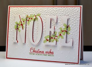 hand crafted Christmas card from JanB Handmade Cards Atelier ... eclipse/hidden word format ... stacked die cut NOEL with red layers under white ... bought of holly stamped across ... Stampin' Up!