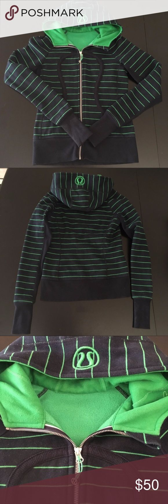 Lululemon Scuba Hoodie Lululemon Scuba Hoodie. EUC. Navy and green stripe. No flaws. NO TRADES. lululemon athletica Tops Sweatshirts & Hoodies