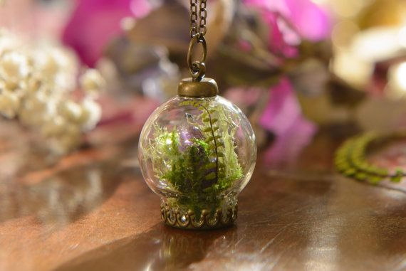Irish Fern Amethyst Terrarium Necklace Real by LomharaJewellery