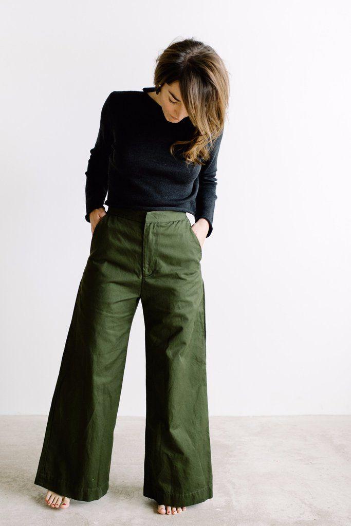 Alex Wide Leg Pant // Olive