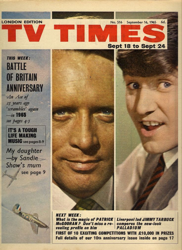 TV Times, September 1965 (Patrick McGoohan as John Drake in Danger Man; Jimmy Tarbuck in Sunday Night at the London Palladium)