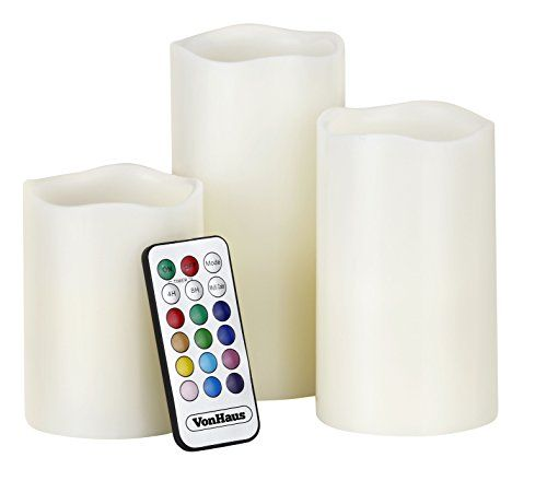 VonHaus Electric Candles - 3 x Flameless Battery Operated Real Wax Pillars - 12 LED Color Settings Remote Control & Timer (Ivory Color)