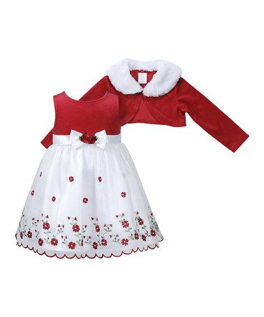 Take a look at this Red & White Dress & Bolero - Toddler by Youngland on #zulily today!