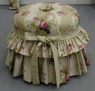 I actually have this tuffet in my own sitting room but in Laura Ashley fabric in various shades of blue with floral and pinstripe design.