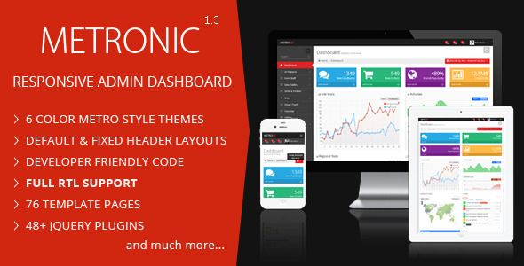 Metronic is a responsive admin dashboard template powered with Twitter Bootstrap Framework for admin and backend applications. Metronic has a clean and intuitive metro style design which makes your next project look awesome and yet user friendly. Metronic comes with a huge collection of plugins and UI components and it works in all major web browsers, tablets and phones.