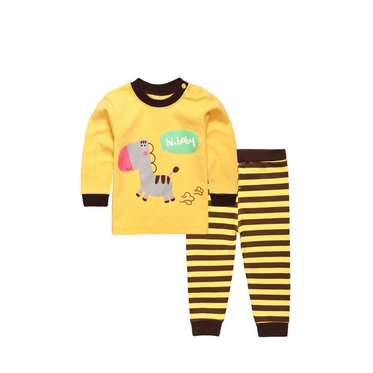 2017 Spring New Nightgown Children's Sleepwear Cotton Soft Kids Long Johns Nightwear Long Sleeve Pajamas for Boys and Girls