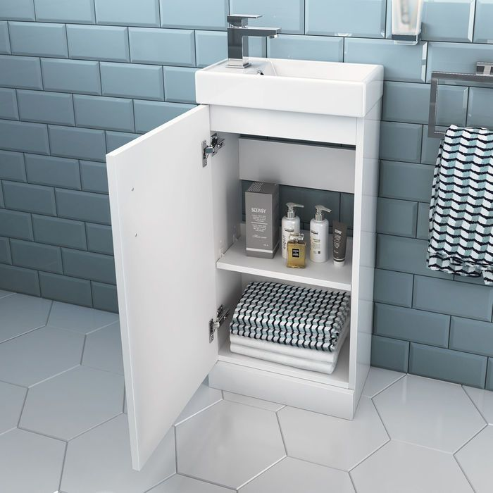 Portland Gloss White Slimline Basin Unit Floor Standing Cloakroom Vanity Unit Toilet And Sink Unit Vanity Units