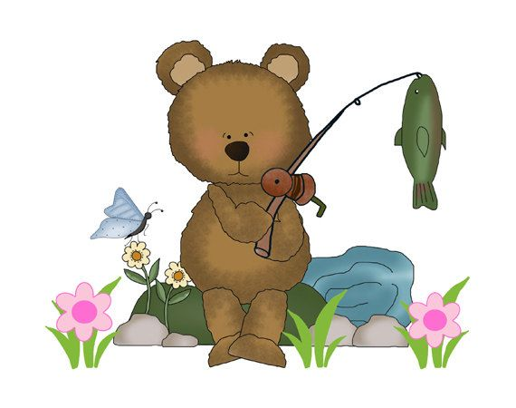 FISHING TEDDY BEAR Decal Wall Art Mural Nursery Woodland Stickers Baby Girl Boy Forest Animal Creatures Kids Hunting Room. Choose to remove the flowers/butterfly #decampstudios