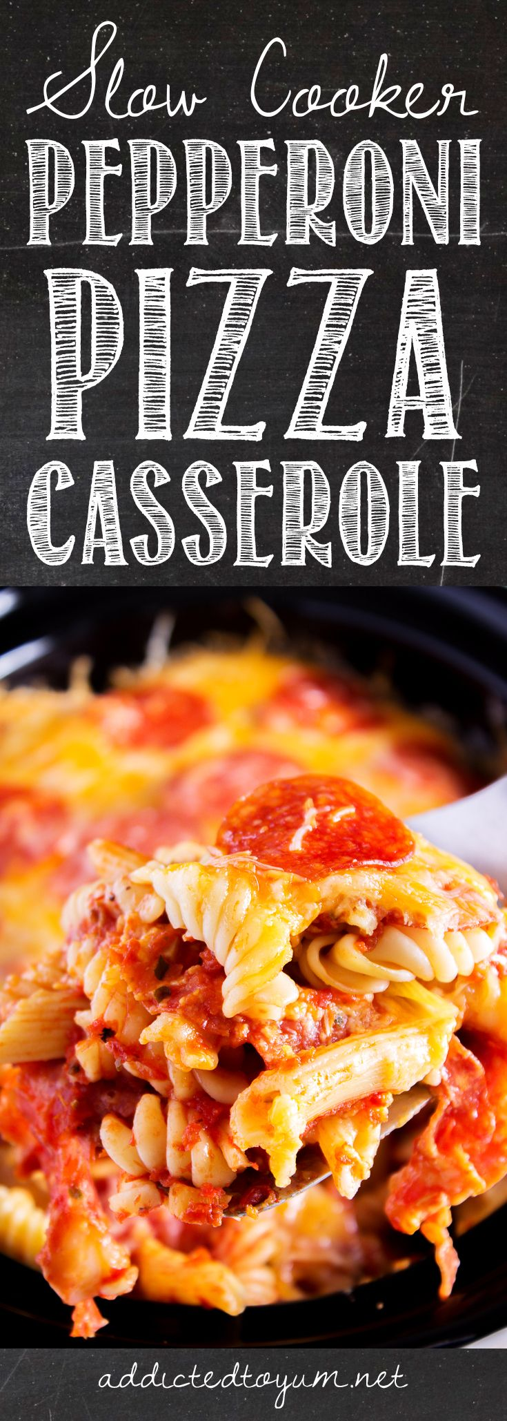 Slow Cooker Pepperoni Pizza Casserole - I can't even believe how easy this is to make! And because I'm feeding 4 ravenous kids (including 2 teenage boys!) and 2 adults this summer, I'm all about easy meals that are quick, hands off, and work for more than just one meal. The gooey cheese and pepperoni make even the pick eaters happy – huge win! Everyone loves pizza!