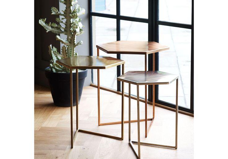 Set of Three Hexagon Metallic Nesting Tables