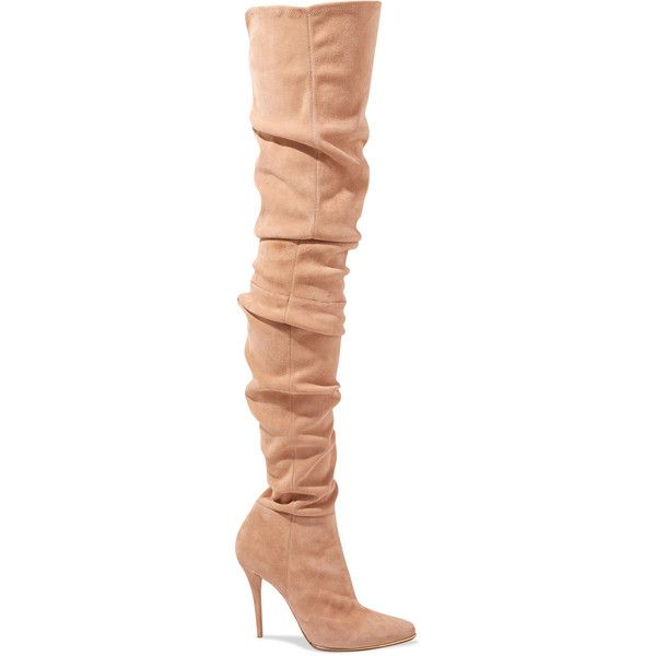 Balmain Stretch-suede over-the-knee boots (18 840 SEK) ❤ liked on Polyvore featuring shoes, boots, boots/booties, botas, over the knee high heel boots, suede high heel boots, stretch thigh high boots, suede over the knee high heel boots and high heel boots