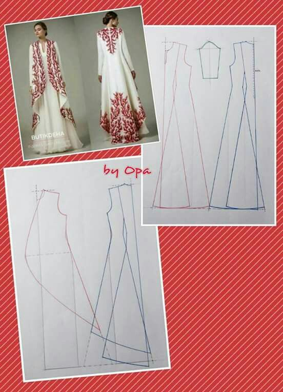 Gorgeous embroidered floor length swing coat and pattern