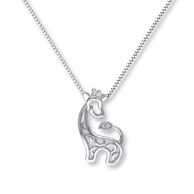 Giraffe Necklace Diamond Accents Sterling Silver