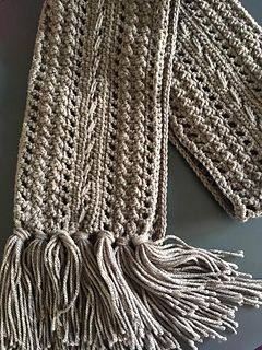 This pattern makes a lovely rustic looking scarf. I suggest that you use an Aran weight yarn to make the scarf nice and chunky. You can choose to make it with a lighter weight yarn, but keep in mind that the scarf then will get thinner and shorter.