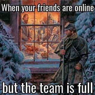 When your friends are online but the team is full >>>WHY HAVE YOU FORSAKEN ME?! --- snow, man outside in cold, Christmas dinner, family inside