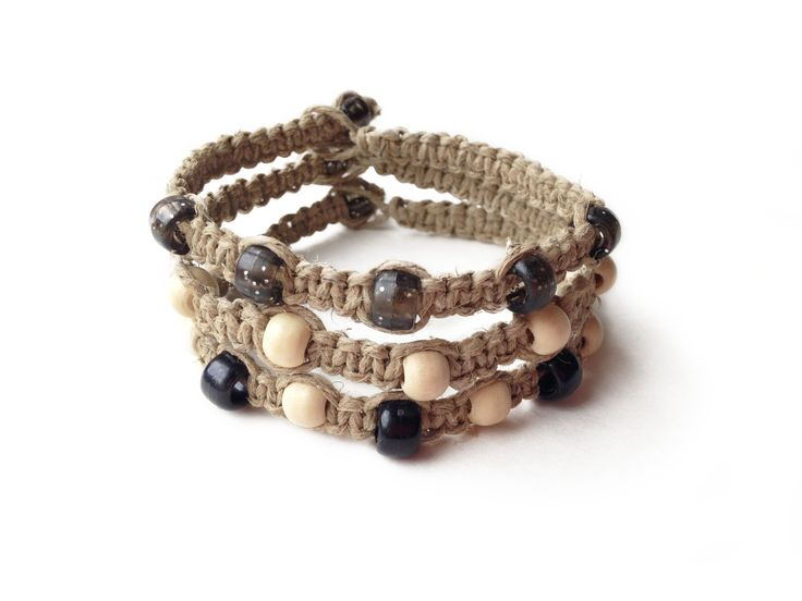 STARRY NIGHT: Natural Hemp Cord with Black and Wood Seed Beads