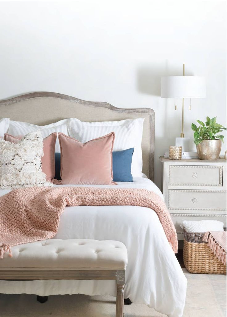 Snuggle up with these extra-cozy winter finds! We love this Moroccan cream pillow and velvet blush pillow from @potterybarn. Not to mention that millennial pink throw blanket from @westelm  Get more of our fresh, on-trend favorites in our Winter 2018 Issue, out now! Order now by clicking on this pin.