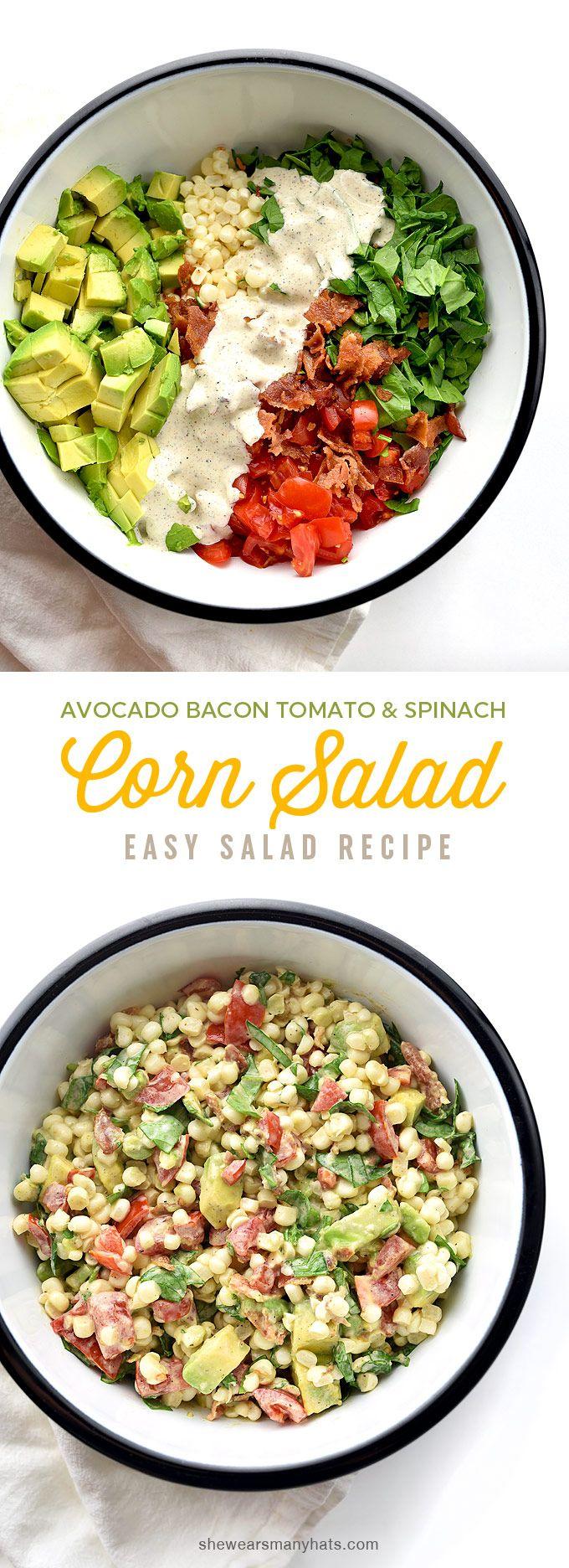 Avocado Bacon Tomato Spinach Corn Salad Recipe