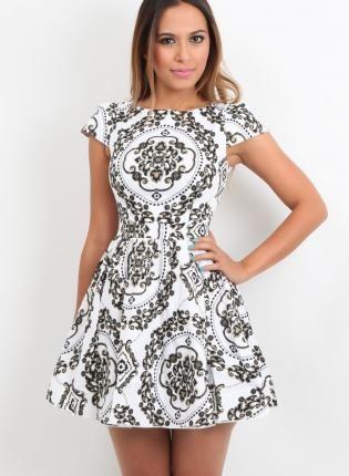 Black White Skater Foral Paisley Print Dress, Vintage Style,  Dress, Floral print  Skater  Round Neck  Black, Chic