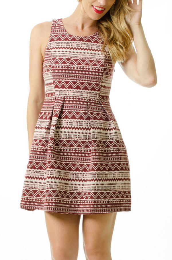 Tribal Pattern Garnet Dress - add some gold accessories and you've got a FSU game day outfit!
