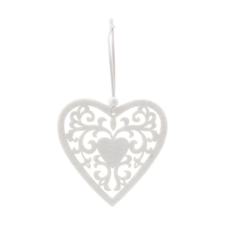 Luxury Felt Christmas ornament heart 10 cm white