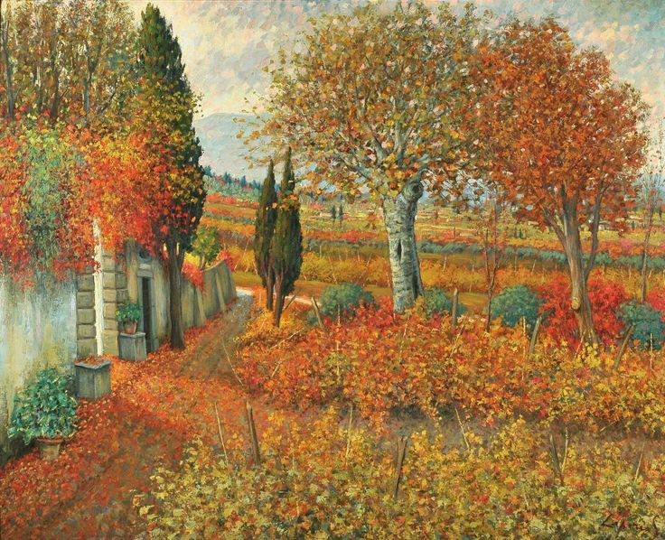 Giò Batta Lepori (1911  2002 )- Il paese del vino chianti Olio su tavola 123x150 cm