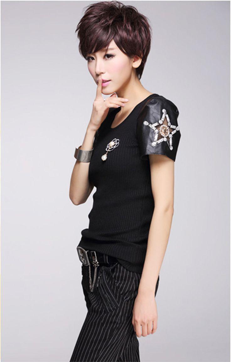Alibaba グループ | AliExpress.comの Tシャツ からの 新しい2015女性ニットプルオーバートップpuレザーパッチワーク半袖でビーズスター装飾ラウンドネックスリムフィット 中の 新しい2015女性ニットプルオーバートップpuレザーパッチワーク半袖でビーズスター装飾ラウンドネックスリムフィット