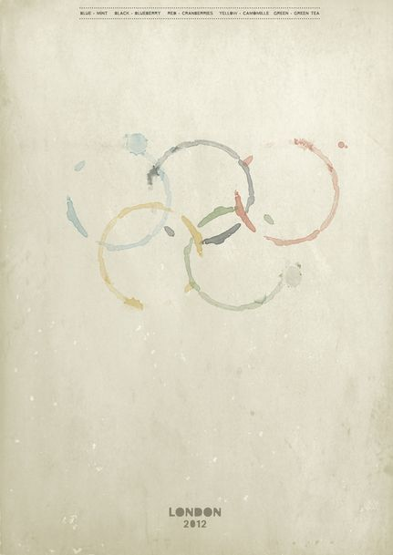 Ooooh love it! Distressed 2012 Olympics poster, with the rings made of different colored tea stains.