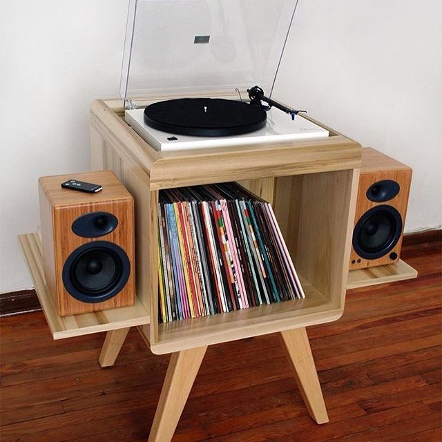Sweet simple audio setup. All in one turntable piece. Love the bamboo speakers!
