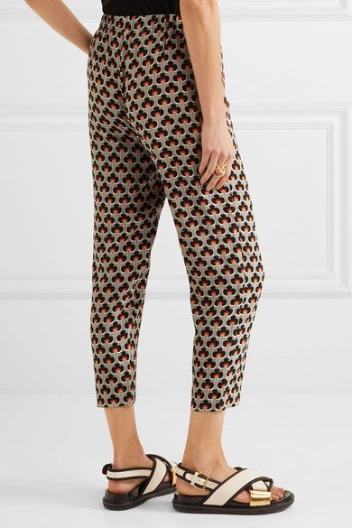 Marni - Printed Silk Crepe De Chine Track Pants - Orange - IT