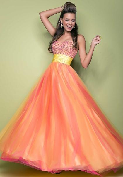 Prom dresses red orange yellow