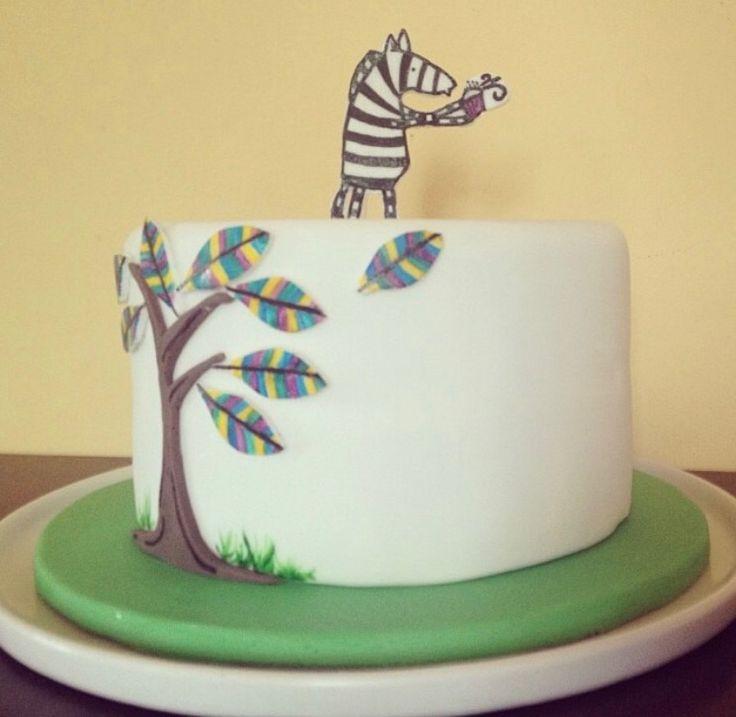 Painted birthday cake design