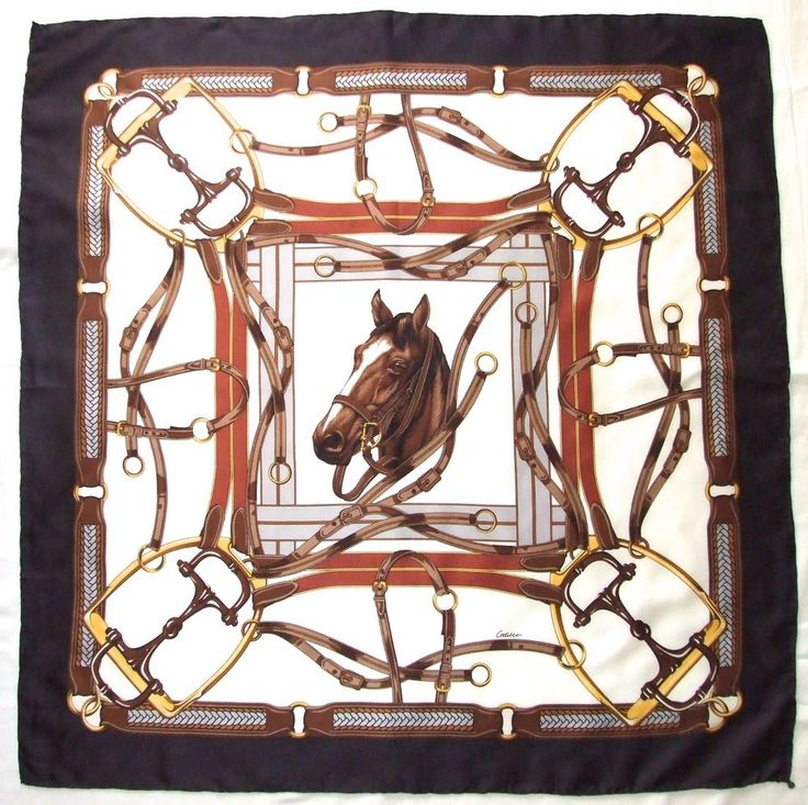 """Silk scarf from Codello in classic equestrian design. Hand Rolled Main Colors: Blue, Brown, Yellow Gold, Burgundy and White Approx. Size: 31"""" x 32"""" Content: Pure Silk, MediumTwill Marked Codello, Metal Tag. 