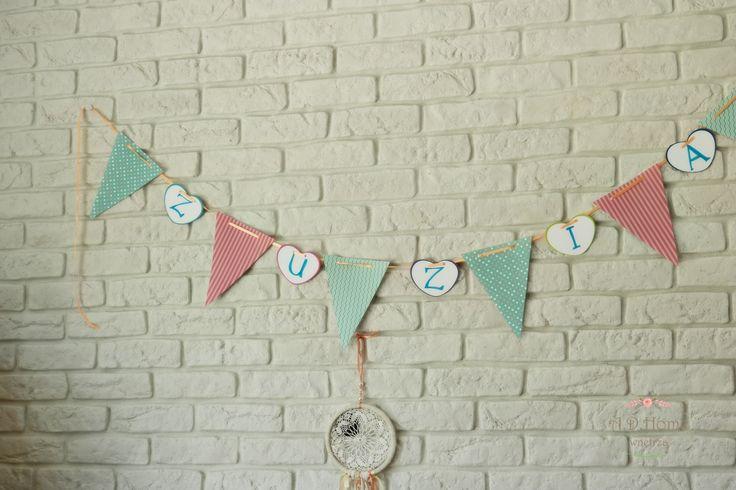 papierowa, urodzinowa girlanda, pastele