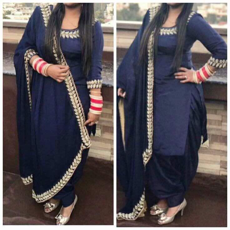 Navy Blue Color Designer Patiala Suit.