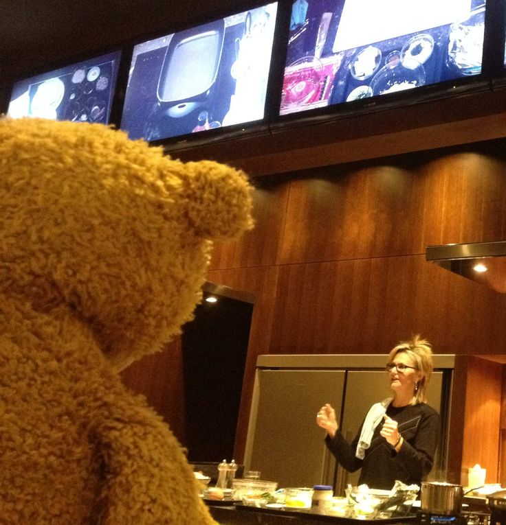 Teddy watches intently at a cooking class #teddy #cooking #class #teddybear #food