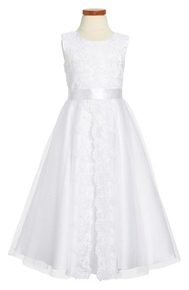 Joan Calabrese for Mon Cheri Lace & Chiffon Communion Dress (Little Girls & Big Girls) available at #Nordstrom