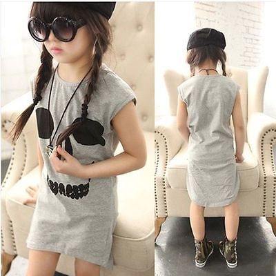 2015 New Korean Kids Girls Irregular Skull Vest Dress Skirt 3-8Years clothes