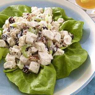 Chicken Salad with Pecans  Dried Cherries Recipe Nutrition  Per serving: 380 calories; 17 g fat ( 3 g sat , 8 g mono ); 85 mg cholesterol; 23 g carbohydrates; 10 g added sugars; 32 g protein; 3 g fiber; 452 mg sodium; 428 mg potassium.