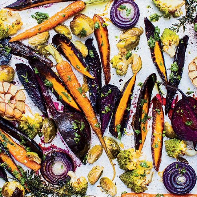 Here's an idea for tomorrow's roast! For extra flavour, toss your veg in chicken or duck fat before roasting, then top them with a bright, lemony mix of parsley and minced garlic. It's a rainbow on a tray! #TheArtOfEatingWell #SundayRoast
