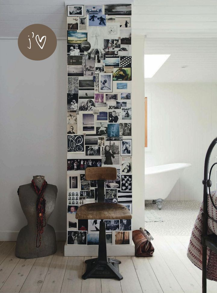 Personal wall with cards and photo's