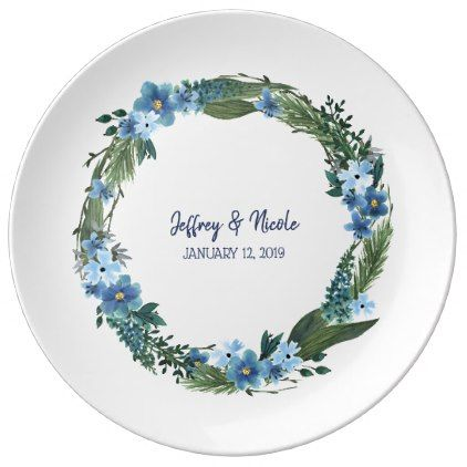 #Blue Watercolor Floral Wedding Dinner Plate - #country gifts style diy gift ideas
