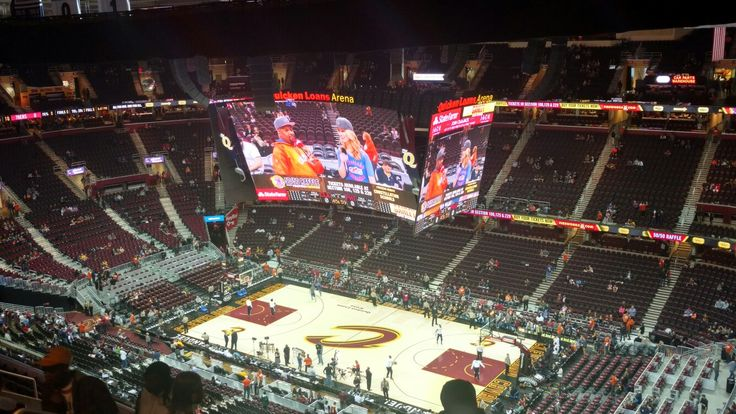 Quicken Loans Arena - March 31, 2017. Cavs vs Philadelphia 76ers.  Look at that Jumbo Tron.  As big as the Court