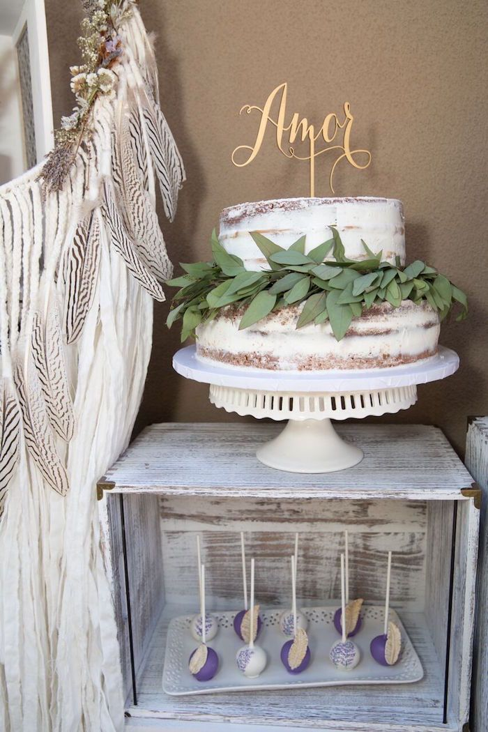 Bridal shower cake from French Country Bohemian Bridal Shower at Kara's Party Ideas. See more at karaspartyideas.com!